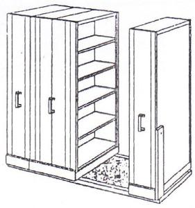 Ukuran: H.2250 x W.1000 x L.2500 mm Terdiri dari: 1 lemari tunggal static. Ukuran: H.2250 x D.400 x W.1000 mm – 5 comp. 1 lemari tunggal dynamic. Ukuran: H.2250 x D.400 x W.1000 mm – 5 comp. 1 lemari ganda dynamic. Ukuran: H.2250 x D.800 x W.1000 mm – @ 10 comp.
